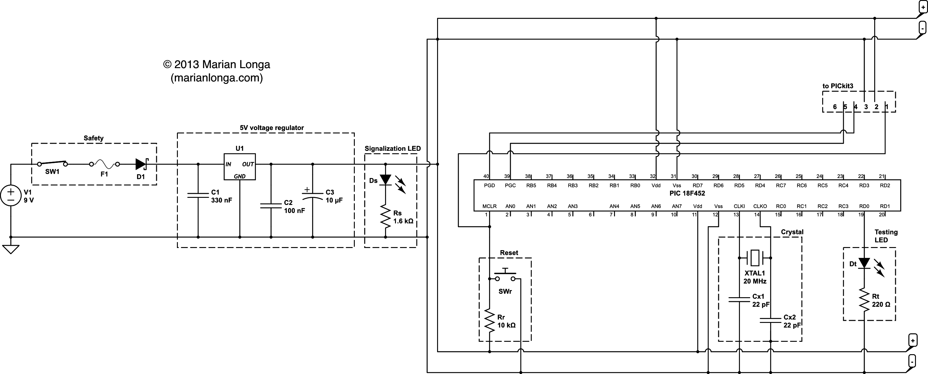 Blink An Led With Pic18f452 Simple Blinking Circuit Schematic For A To
