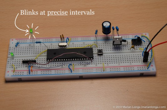 Timer blinks an LED with text (960px)